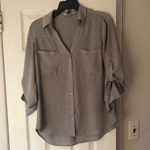Express gray button down shirt